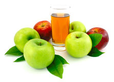 Green,red apples and juice. Stock Image