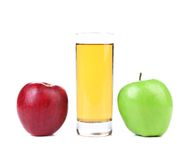 Green and red apples, juice isolated on white Stock Photos