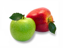 Green and red apples with leaves Stock Photo