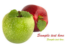 Green and red apples with leaves Stock Photos