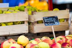 Green and red apples in local market in Copenhagen,Denmark. Royalty Free Stock Photos