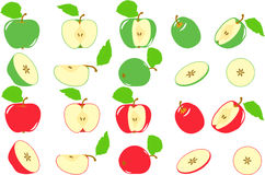 Green and red apples slices, collection of  illustrations Stock Photography