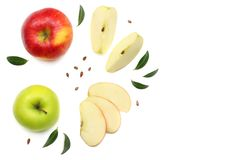 Green and red apples with slices isolated on white background. top view royalty free stock photo