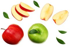Green and red apples with slices isolated on white background. top view royalty free stock image