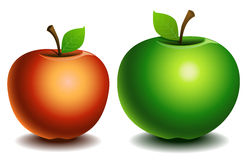 Green and red apples. Vector illustration. Green and red apples on a white background Royalty Free Stock Photo