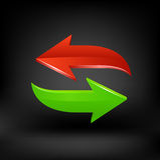 Green and red arrow. Vector Stock Photos