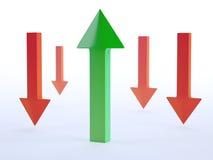 Green and red arrows. 3D green and red arrows Stock Photos