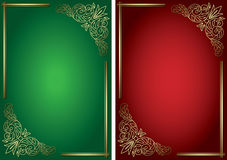 Green and red vector backgrounds with golden decor Stock Photography