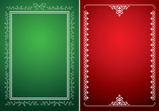 Green and red vector backgrounds with white frames Royalty Free Stock Images
