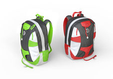 Green and red backpacks on white background Stock Photos