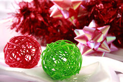 Green & Red Balls for decorations Royalty Free Stock Photo