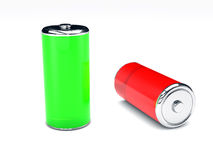 Green and red  battery on white background Royalty Free Stock Photo