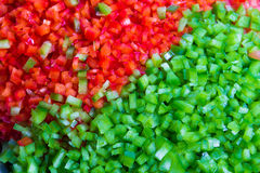 Green and Red Belll Peppers Cleaned and Washed as Cooking Ingred Royalty Free Stock Images