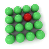 Green and red billiard balls square. 3D rendering of green and red billiard balls forming a square shape Royalty Free Stock Photos