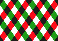 Green Red Black Diamond Chessboard Background. Christmas Seamless Pattern. Stock Images
