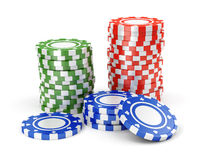 Green, red and blue casino tokens Royalty Free Stock Images