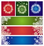 Green, red and blue decoration with paper snowflakes for winter holidays Stock Photo