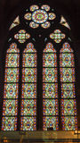 Green Red Blue Designs Stained Glass Notre Dame Paris France Stock Photo
