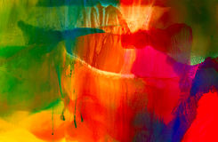 Green red blue paint smudged with runs. Colorful background hand drawn with bright inks and watercolor paints. Color splashes and splatters create uneven Royalty Free Stock Photography