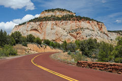 Green, red, blue and yellow color of canyon Zion. Arizona. Red road leading to a huge rock on the background of deep blue sky with clouds. National park Zion Royalty Free Stock Images