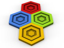 Green, red, blue and yellow hexagon puzzle pieces. Fitting together Stock Photo