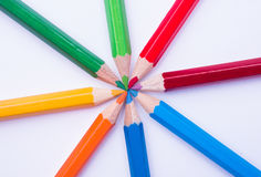 Green Red Blue Yellow and Orange Coloring Pencil Stock Photos