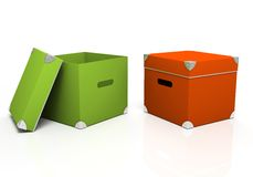 Green and red boxes Stock Photo