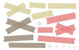 Green, red, brown different size adhesive, sticky, masking, duct tape, paper pieces on white background with stars.  Royalty Free Stock Photos