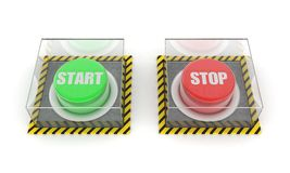Green and red button Stock Images
