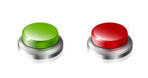 Green and red button. Large green and red button on a white background royalty free illustration