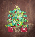 Green and red buttons as Christmas tree Royalty Free Stock Photography