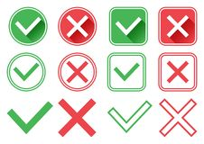 Green and red buttons. Green check mark and red cross. Right and wrong. Vector illustration vector illustration