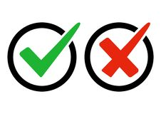 Green check mark and red cross. Right and wrong. Vector illustration royalty free illustration