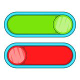 Green and red buttons icon, cartoon style. Green and red buttons icon. Cartoon illustration of green and red buttons icon for web stock illustration