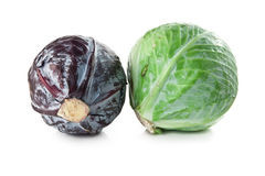 Green and red cabbage. Red and green cabbage isolated on white background Stock Photos