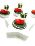 Green, red candles as Christmas ornaments Royalty Free Stock Images