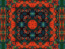 Green-red carpet. Kaleidoscope created from my photo of tree with red beans Stock Photography