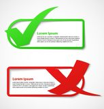 Green and red check mark banners Royalty Free Stock Photography