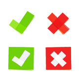 Green and red check mark icons Stock Photos
