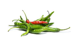 Green red chili. Es on white background stock photography