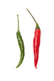 Green and red chili pepper isolated on a white background Royalty Free Stock Images