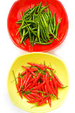 Green and red chili peppers Royalty Free Stock Images