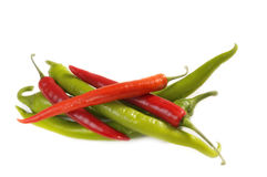 Green and red chili peppers Stock Photography
