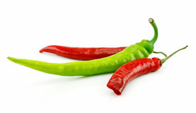 Green and Red Chili Peppers Isolated on White Stock Images