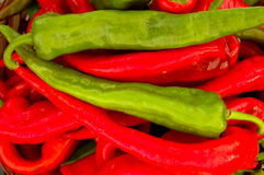 Green and red chili peppers. Royalty Free Stock Image