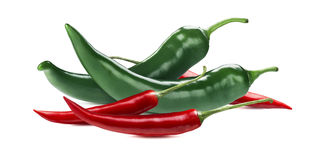 Green red chili peppers  on white background Stock Images
