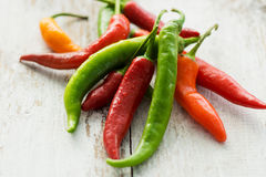 Green and red chilies Royalty Free Stock Images