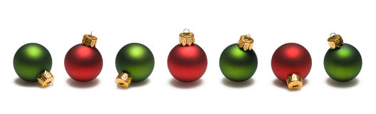 Green and Red Christmas Balls Border Royalty Free Stock Photography