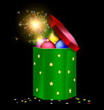 Green red Christmas box and fire Stock Photos