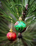 Green and Red Christmas Bulbs Royalty Free Stock Photos